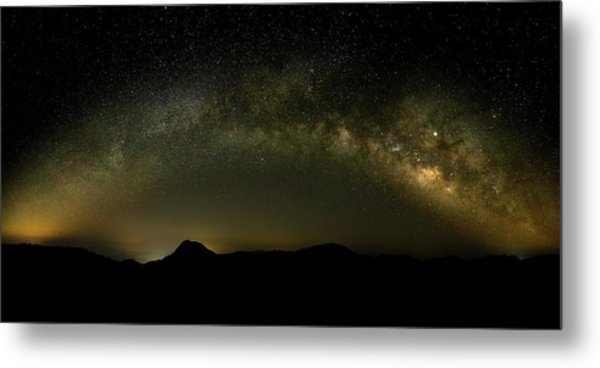 Metal Print featuring the photograph Milky Way Arch Panorama Over Tianping Mountain And Ridge-line by William Dickman