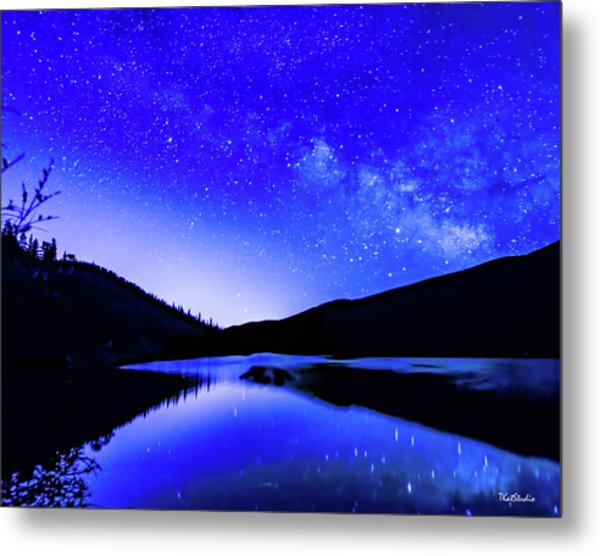 Milky Way Over Springtime Echo Lake Metal Print