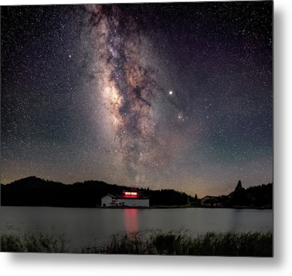Metal Print featuring the photograph Milky Way Over The Tianping Mountain Lake Temple by William Dickman