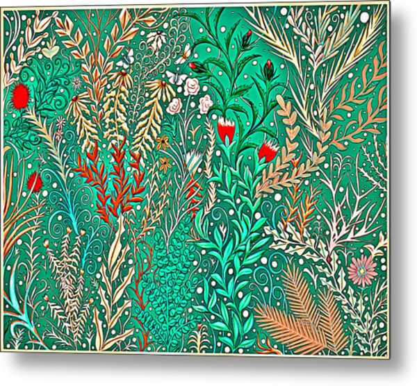 Millefleurs Home Decor Design In Brilliant Green And Light Oranges With Leaves And Flowers Metal Print
