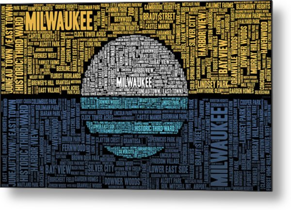 Milwaukee Neighborhood Word Cloud Metal Print