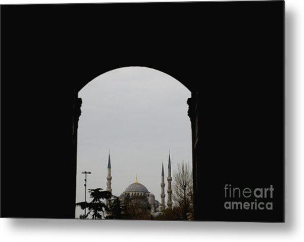minarets in the city for the prayer of the Muslim religion Metal Print