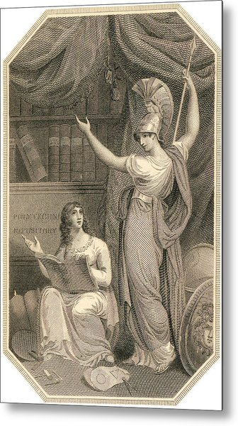 Minerva Directing Study To The  Attainment Of Universal Knowledge Metal Print