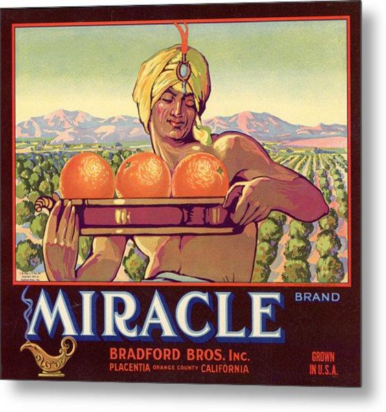 Miracle Brand Orange Label Metal Print