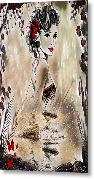 Miss Playful Red Metal Print