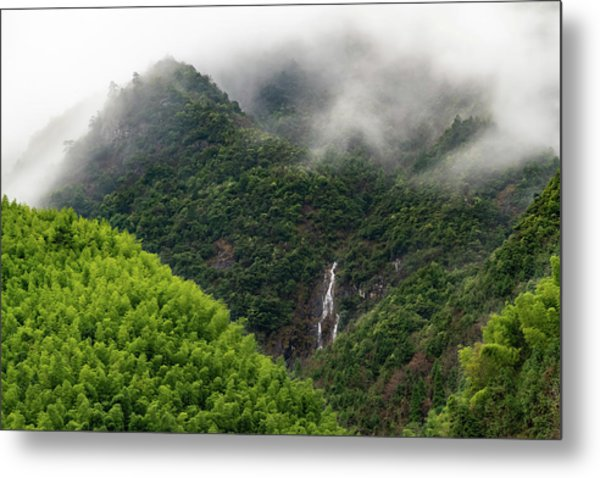 Metal Print featuring the photograph Misty Mountain Waterfall by William Dickman