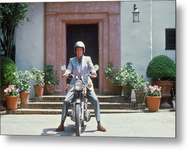 Mitchell On Motorcycle Metal Print by Slim Aarons