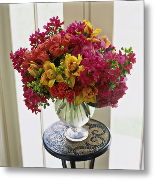 Mixed Arrangement In Decorative Vase On Metal Print by Richard Felber