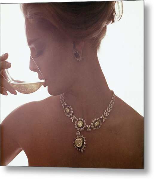 Model In A Diamond Necklace Metal Print