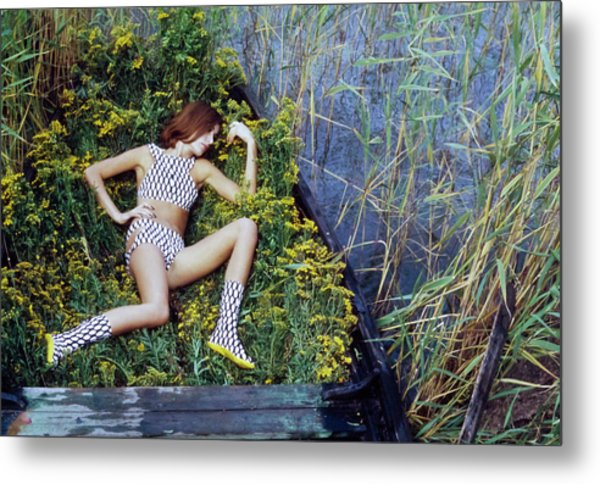 Model In A Fish Scale Patterned Bikini And Boots Metal Print by Gordon Parks