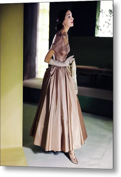 Model In A Vogue Patterns Gown Metal Print