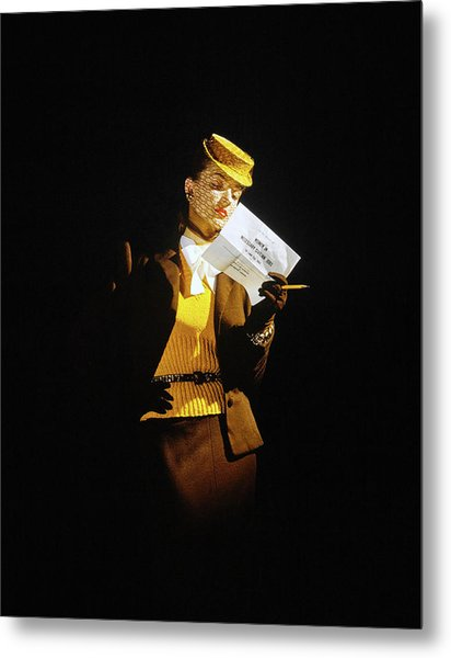 Model In A Wool Suit By Traina-norell Metal Print by John Rawlings