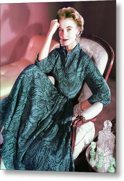 Model In An Anne Fogarty Dress Metal Print