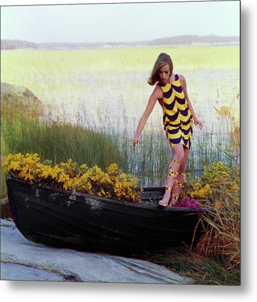 Model In Rowboat Filled With Yellow Flowers Metal Print by Gordon Parks
