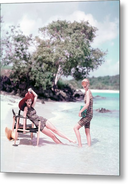 Models At The Beach In St. John Metal Print by Richard Rutledge