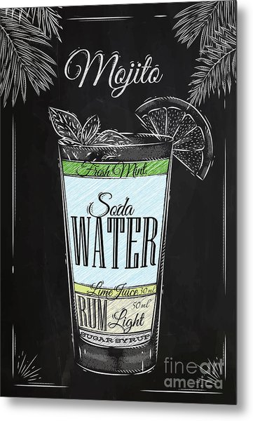 Mojito Cocktail In Vintage Style Metal Print