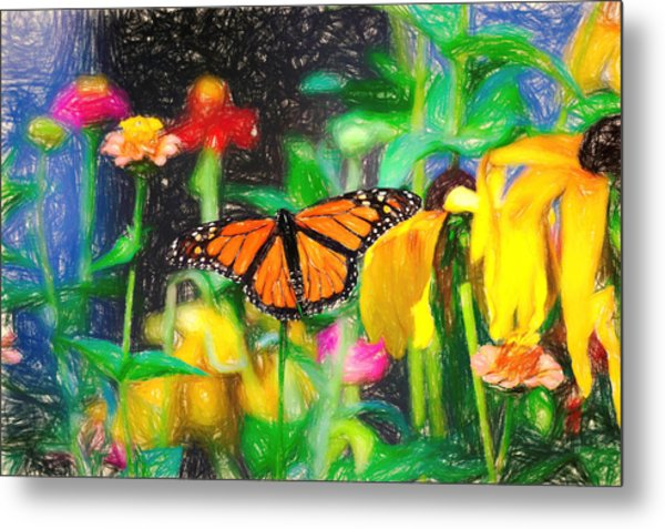 Monarch Butterfly Colored Pencil Metal Print