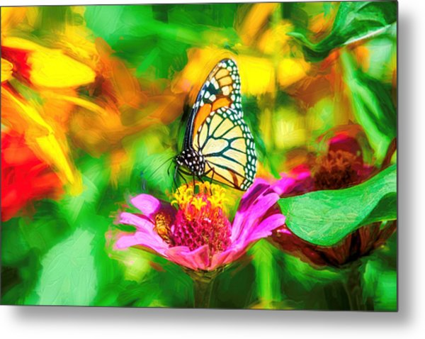 Monarch Butterfly Impasto Colorful Metal Print