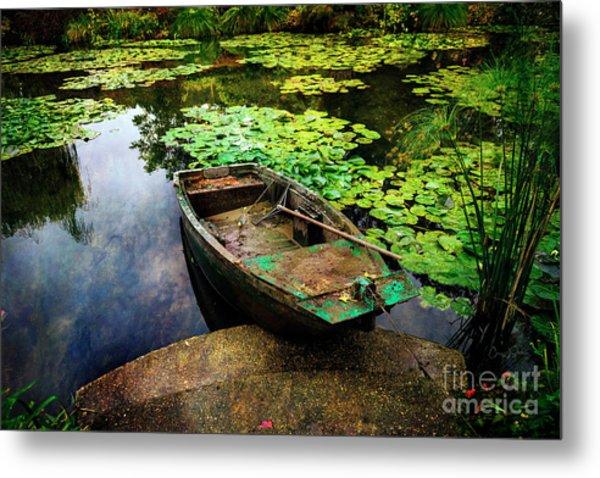 Monet's Gardeners Boat Metal Print