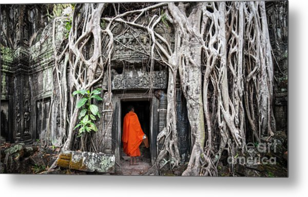Monk In Angkor Wat Cambodia. Ta Prohm Metal Print by Banana Republic Images