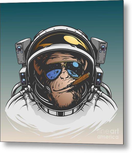 Monkey Astronaut Illustration Metal Print
