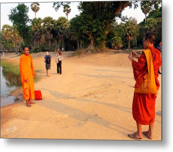 Monks At Ankgor Wat, Cambodia Metal Print