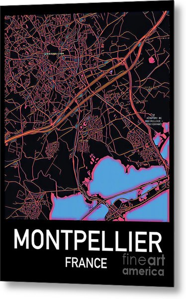 Montpellier City Map Metal Print