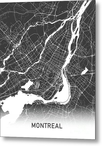Montreal Map Black And White Metal Print