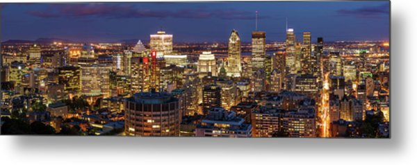 Metal Print featuring the photograph Montreal Panorama At Night by Pierre Leclerc Photography