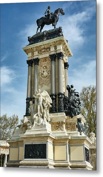 Monument To King Alfonso Xii At Retiro Park In Madrid, Spain Metal Print