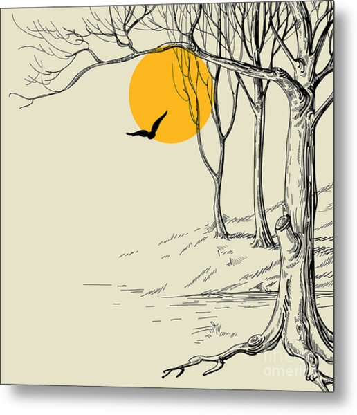 Moon In The Forest Sketch Metal Print