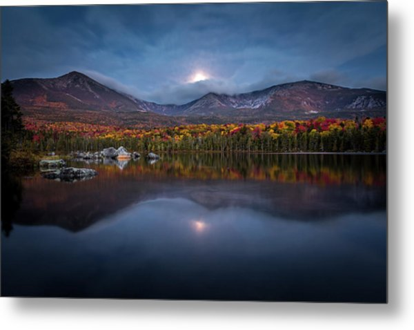 Moon Set At Sandy Stream Pond, Baxter State Park Metal Print