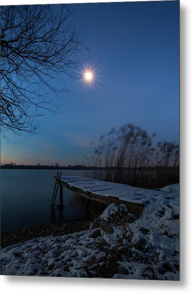 Moonlight Over The Lake Metal Print