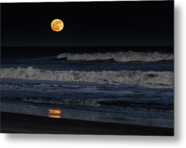 Metal Print featuring the photograph Moonrise Over Assateague Island Beach by William Dickman