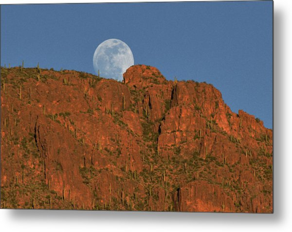 Metal Print featuring the photograph Moonrise Over The Tucson Mountains by Chance Kafka