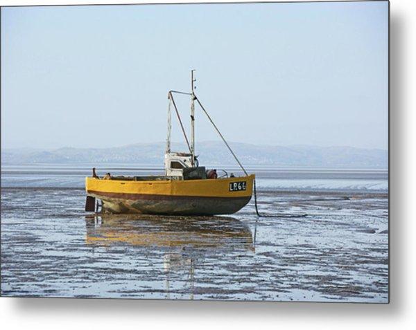 Morecambe. Yellow Fishing Boat. Metal Print
