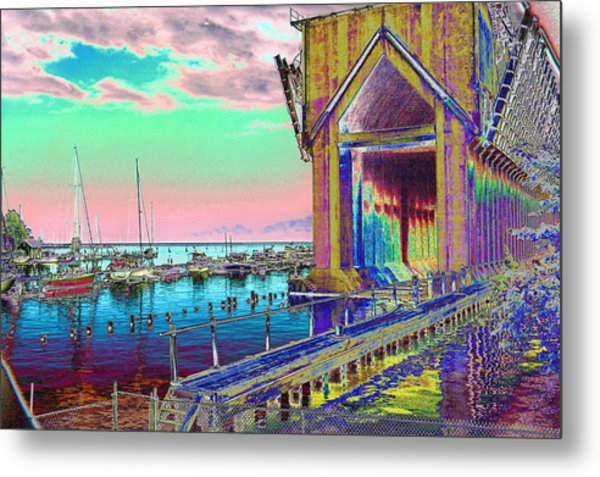 Morning Pink Marquette Ore Dock Metal Print