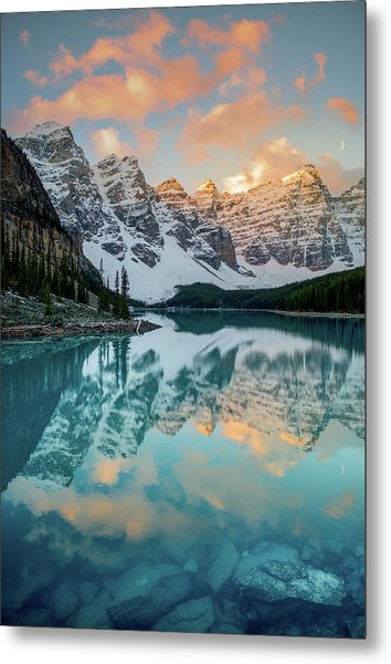 Metal Print featuring the photograph Morraine Lake Moonset / Alberta, Canada  by Nicholas Parker