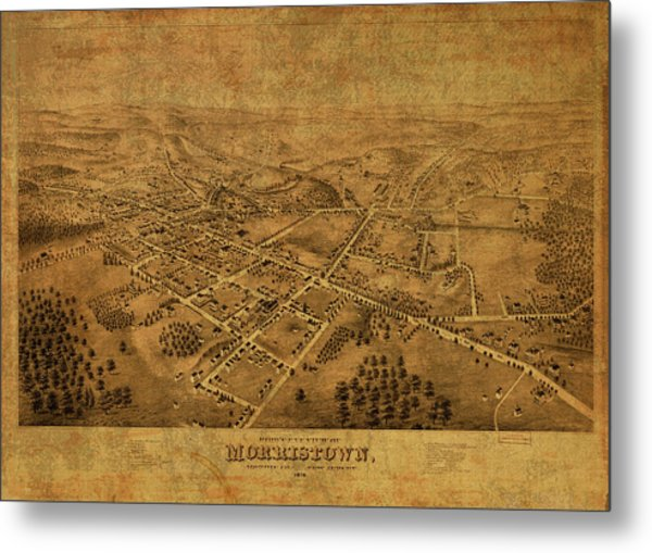 Morristown New Jersey Vintage City Street Map 1876 Metal Print