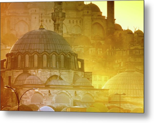 Mosque Of Rustem Pasha With Suleymaniye Metal Print