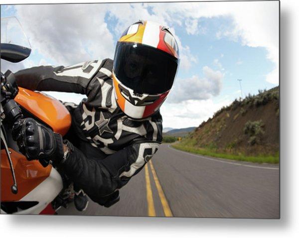 Motorcycle Racer Going Fast Metal Print