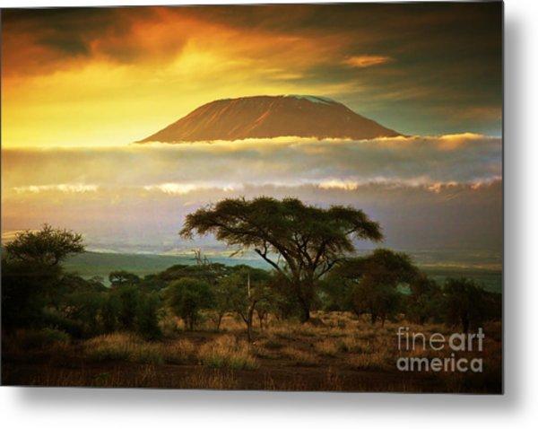 Mount Kilimanjaro And Clouds Line At Metal Print
