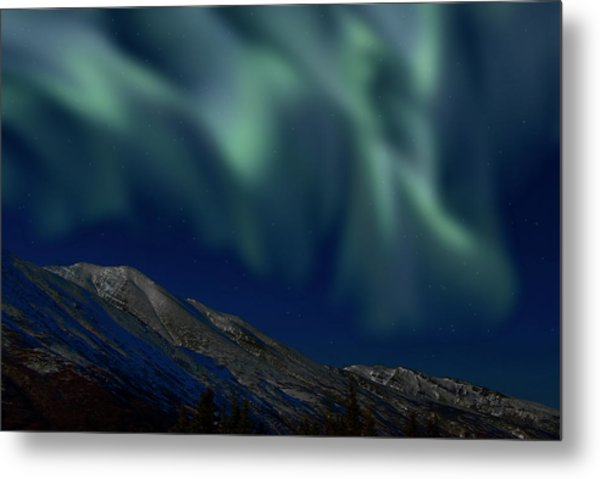 Mountain & Northern Lights Metal Print by Mark Newman