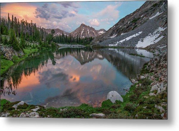 Mountain Lake Sunset Metal Print by Leland D Howard