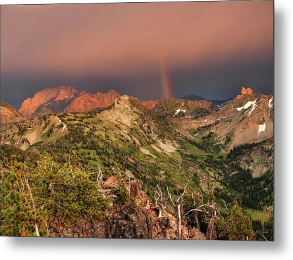 Mountain Light And Rainbow In The Tetons Metal Print by Leland D Howard
