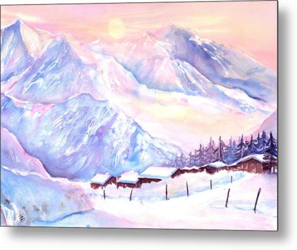 Mountain View Winter Landscape Metal Print