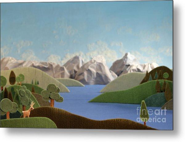 Mountains Panorama With Deer - Alpine Metal Print