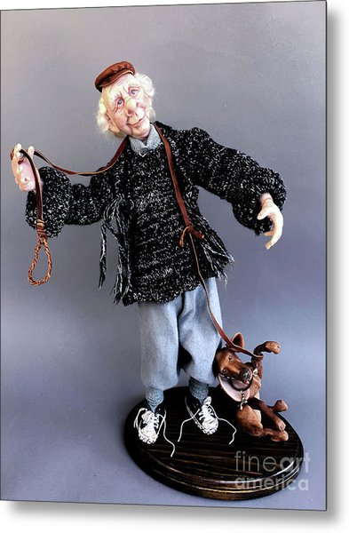 Mr. Wiggles And The Dog Walker Metal Print