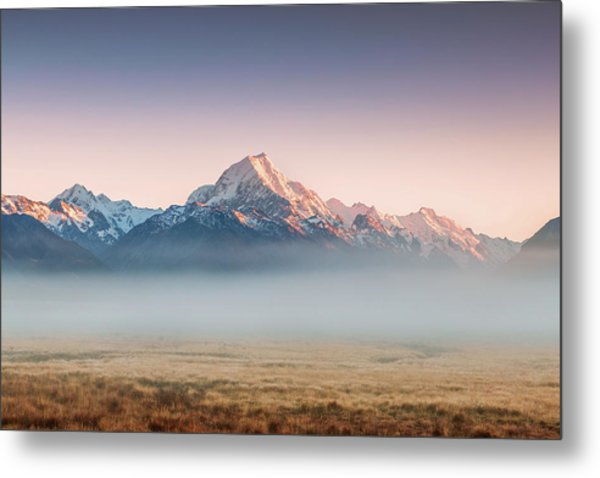 Mt Cook Emerging From Mist At Dawn, New Metal Print by Matteo Colombo