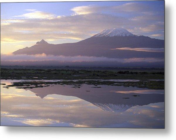 Mt.kilimanjaro Sunrise Amboseli Kenya Metal Print by Stan Osolinski